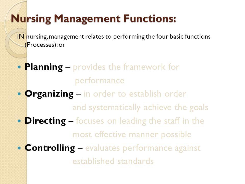 Nursing Management Functions:
