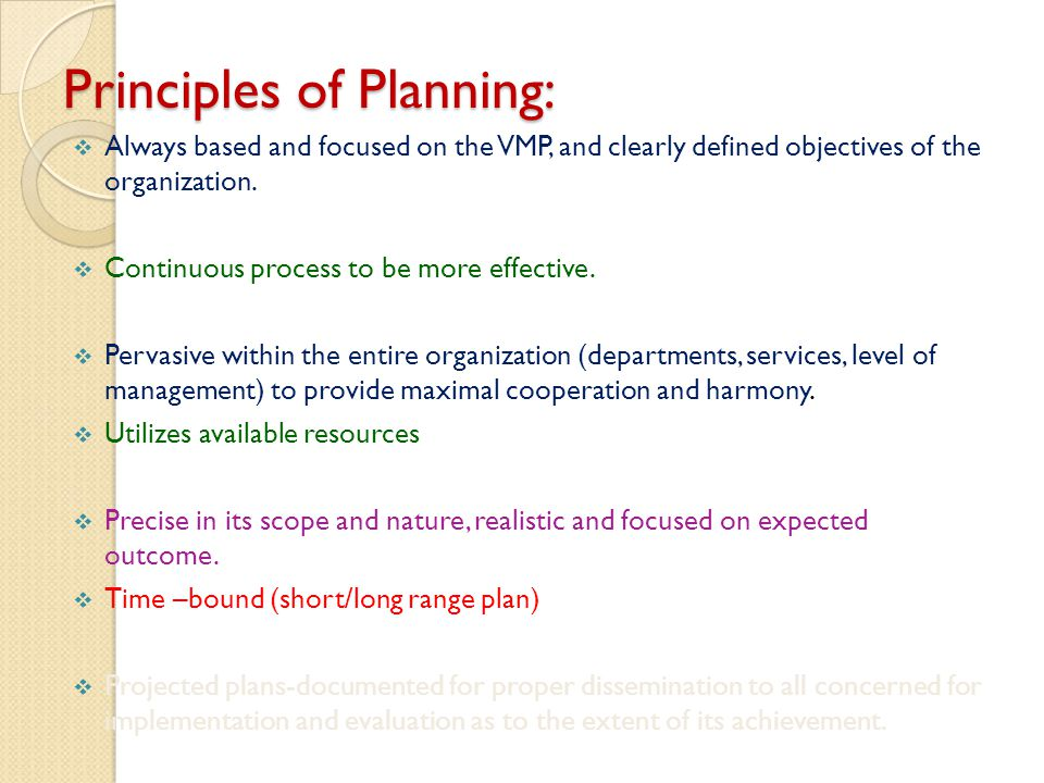 Principles of Planning: