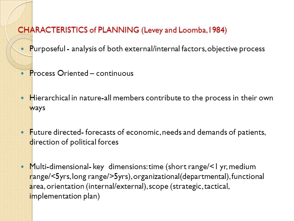 CHARACTERISTICS of PLANNING (Levey and Loomba,1984)