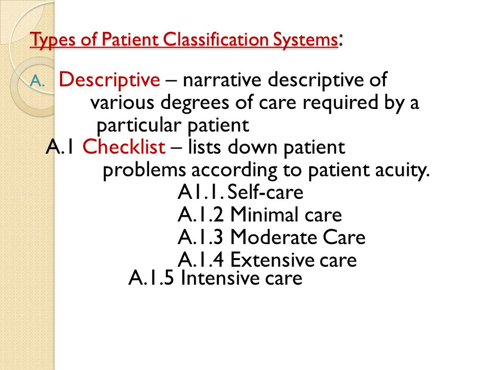 Types of Patient Classification Systems: