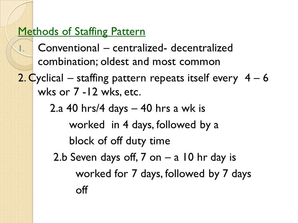 Methods of Staffing Pattern