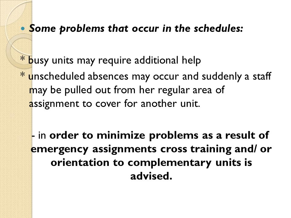 Some problems that occur in the schedules: