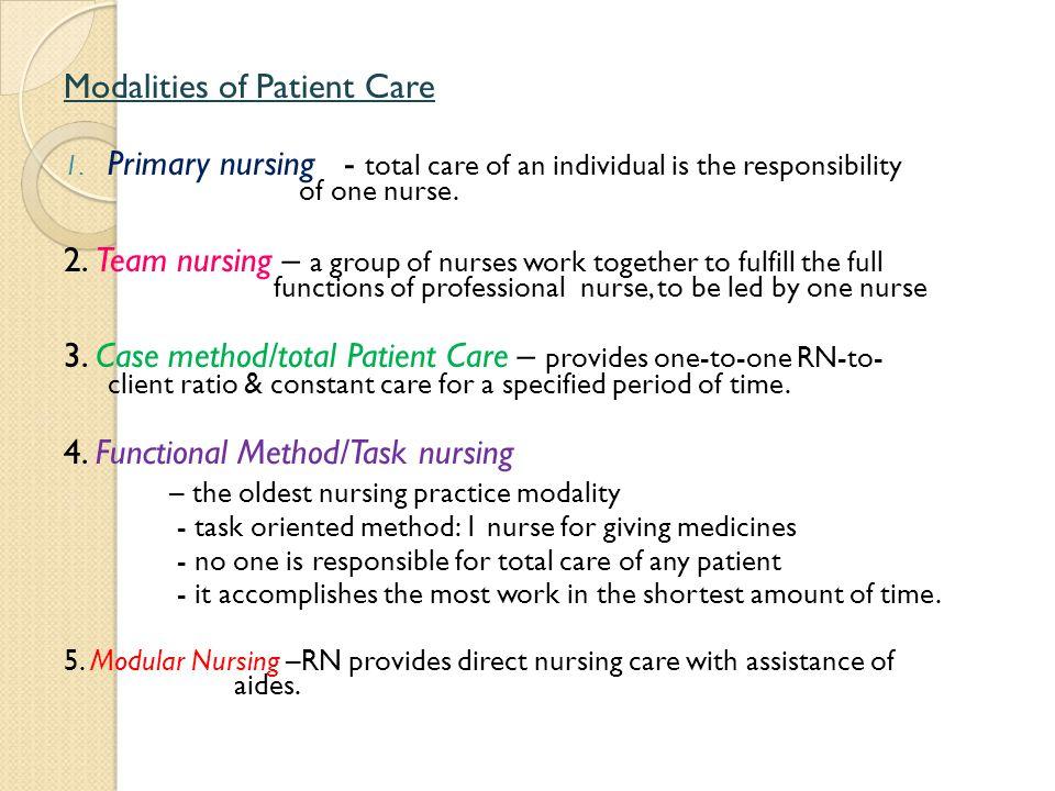 Modalities of Patient Care