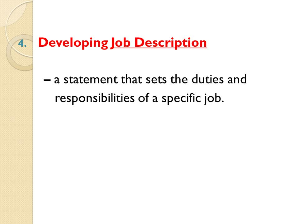 Developing Job Description