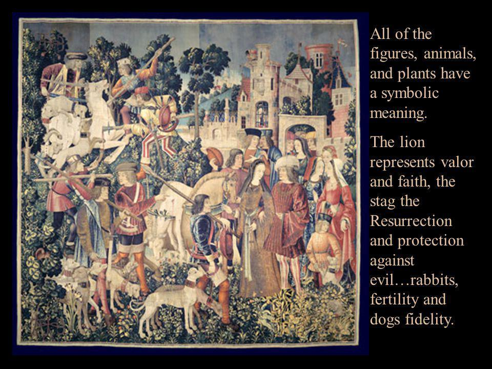 All of the figures, animals, and plants have a symbolic meaning.