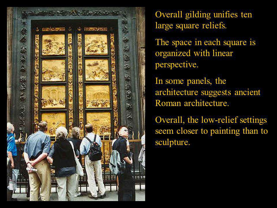 Overall gilding unifies ten large square reliefs.