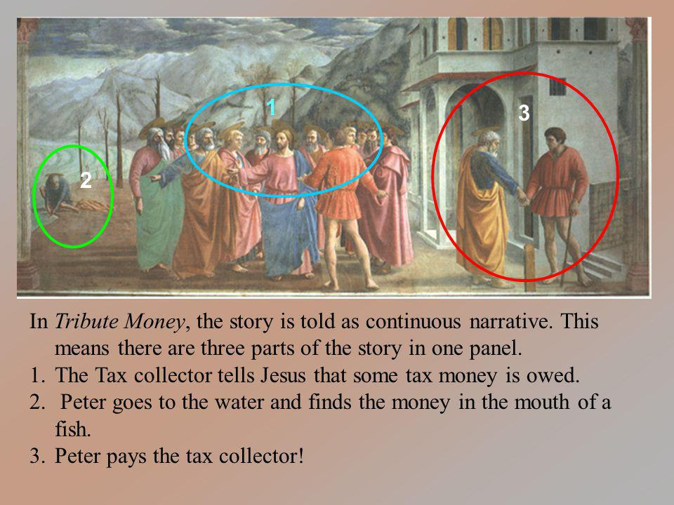 The Tax collector tells Jesus that some tax money is owed.
