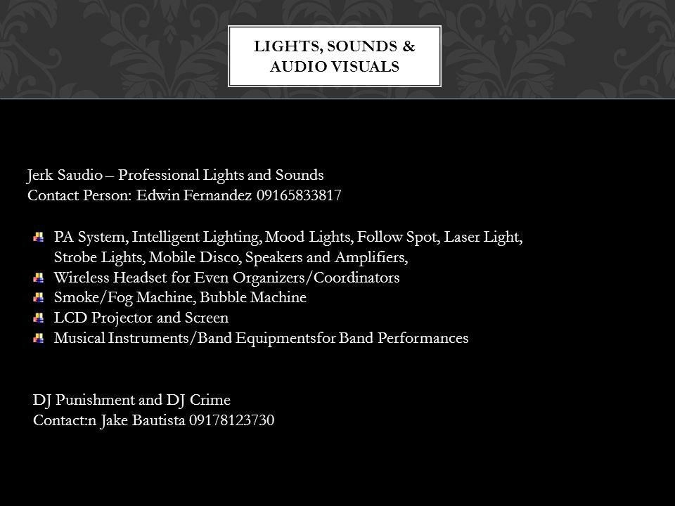 LIGHTS, SOUNDS & AUDIO VISUALS