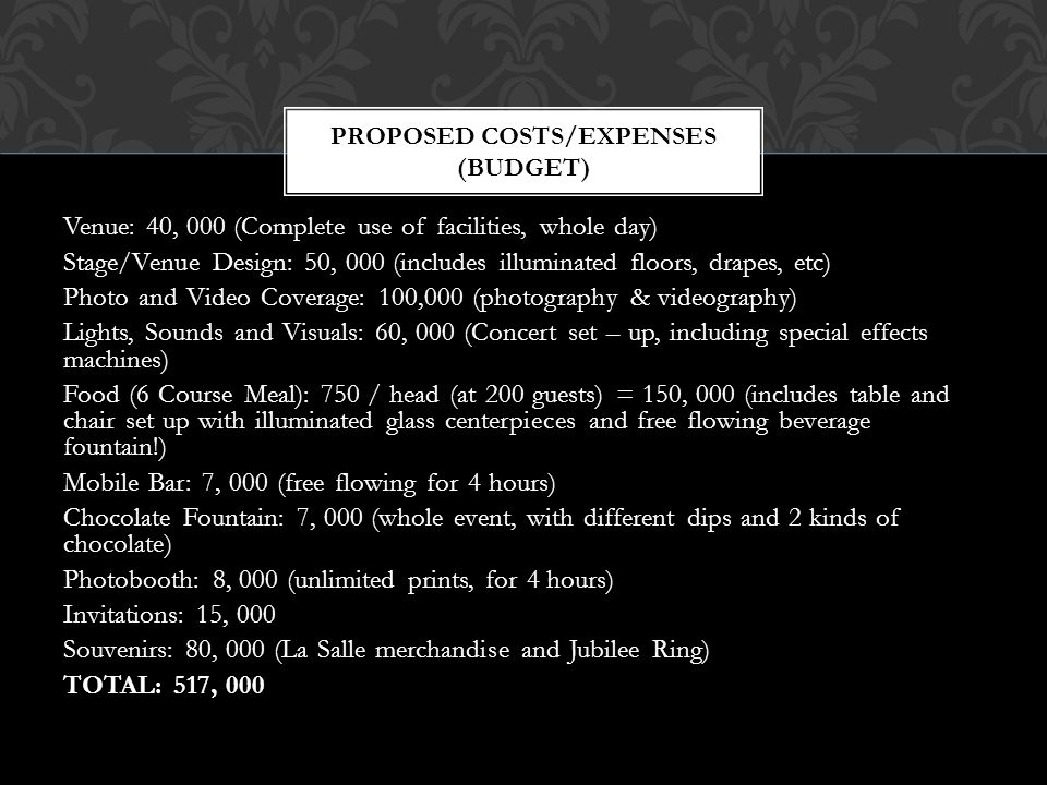 Proposed costs/expenses (budget)