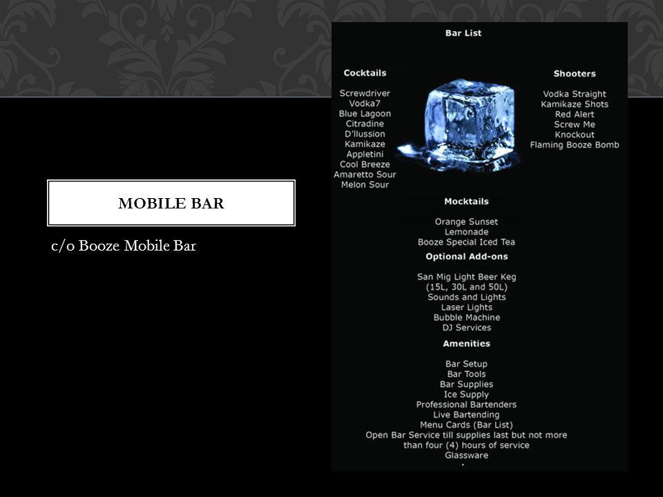 Mobile bar c/o Booze Mobile Bar
