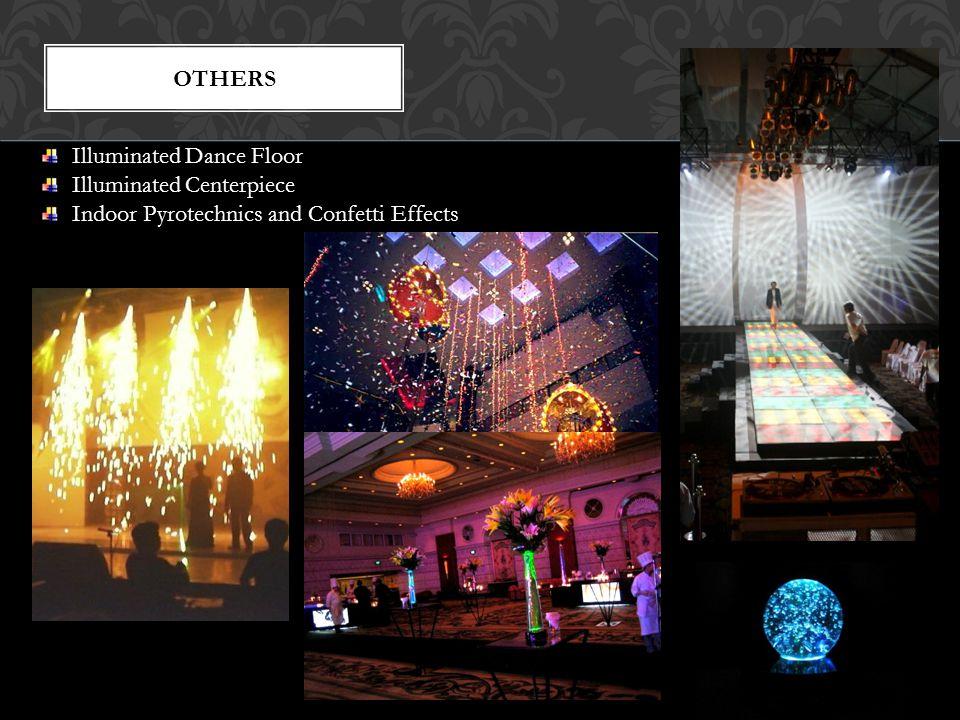 others Illuminated Dance Floor Illuminated Centerpiece Indoor Pyrotechnics and Confetti Effects