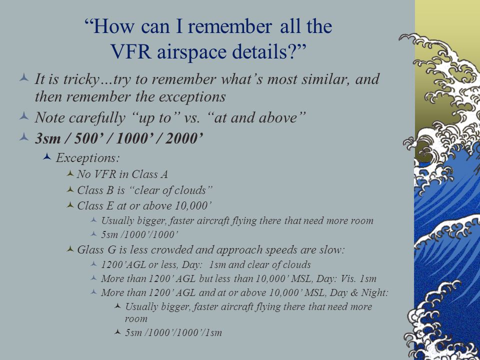 How can I remember all the VFR airspace details