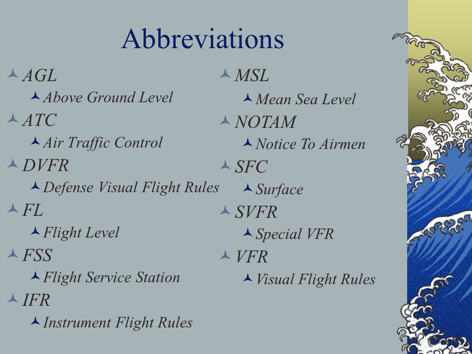 Abbreviations AGL ATC DVFR FL FSS IFR MSL NOTAM SFC SVFR VFR