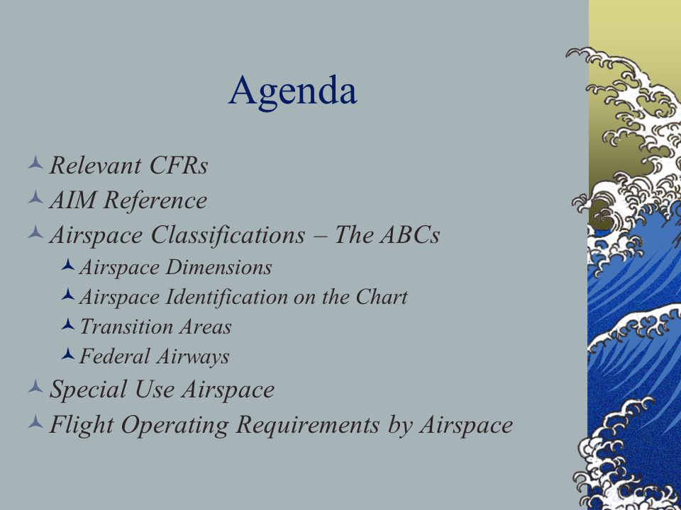 Agenda Relevant CFRs AIM Reference Airspace Classifications – The ABCs