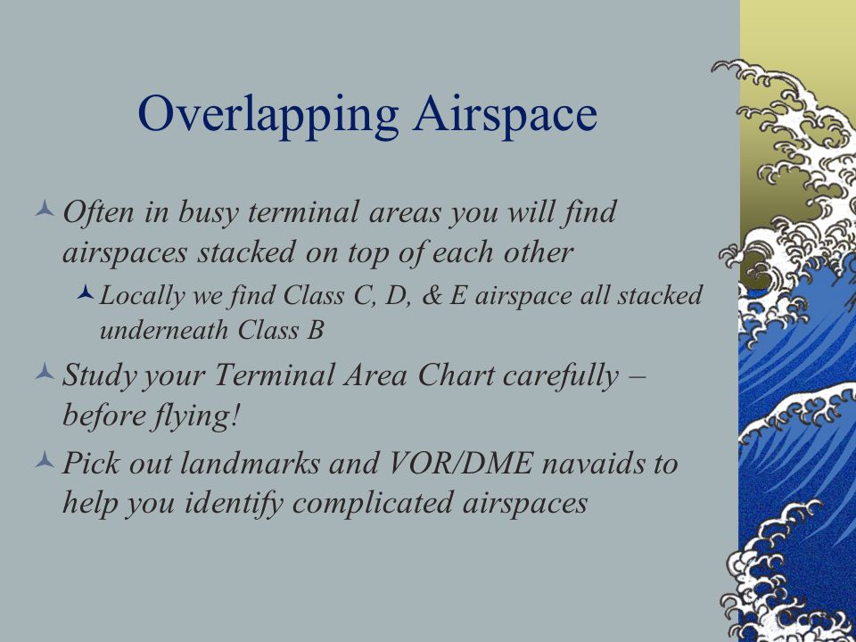 Overlapping Airspace Often in busy terminal areas you will find airspaces stacked on top of each other.