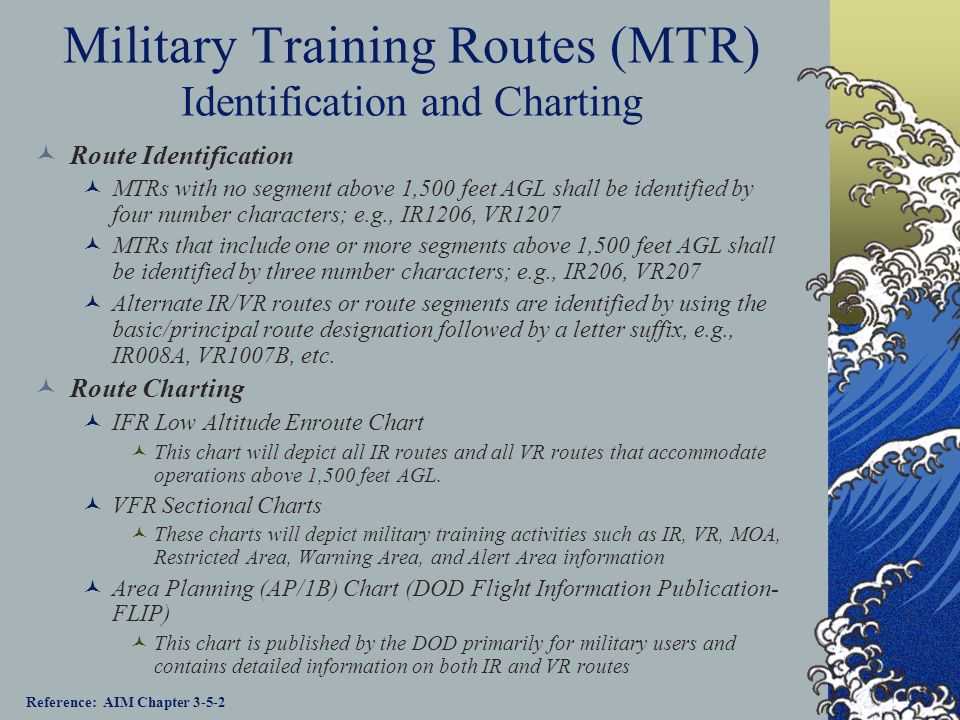 Military Training Routes (MTR) Identification and Charting