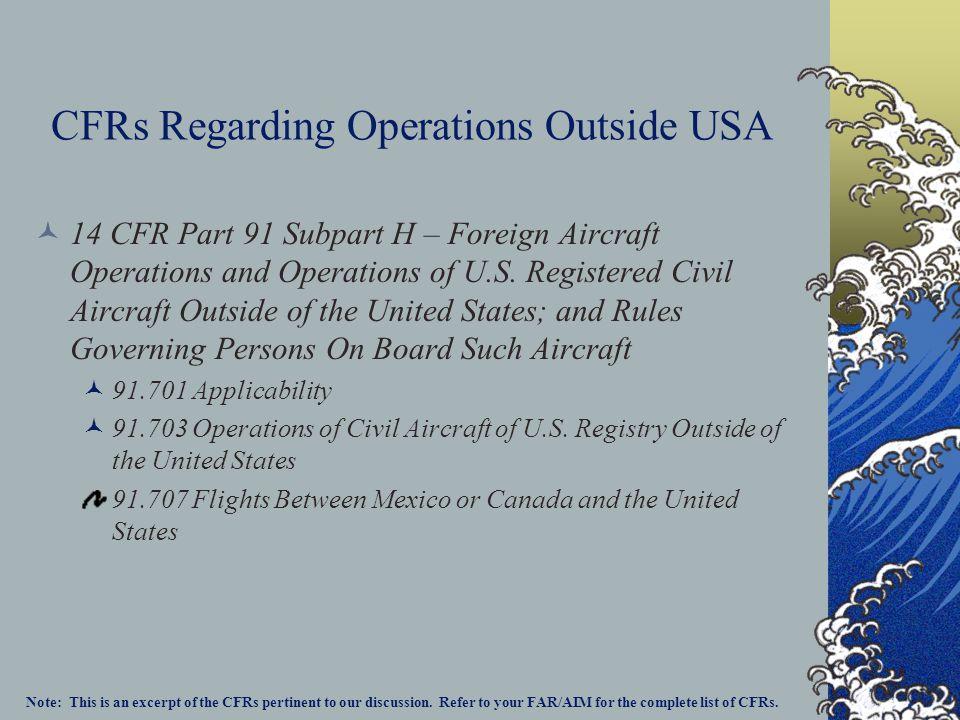 CFRs Regarding Operations Outside USA