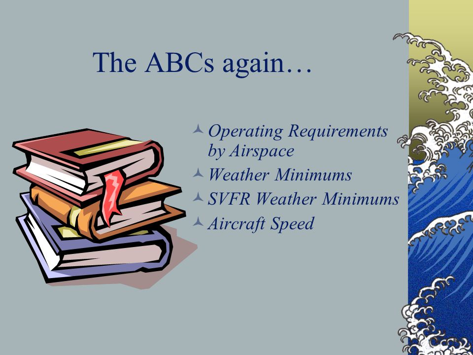 The ABCs again… Operating Requirements by Airspace Weather Minimums