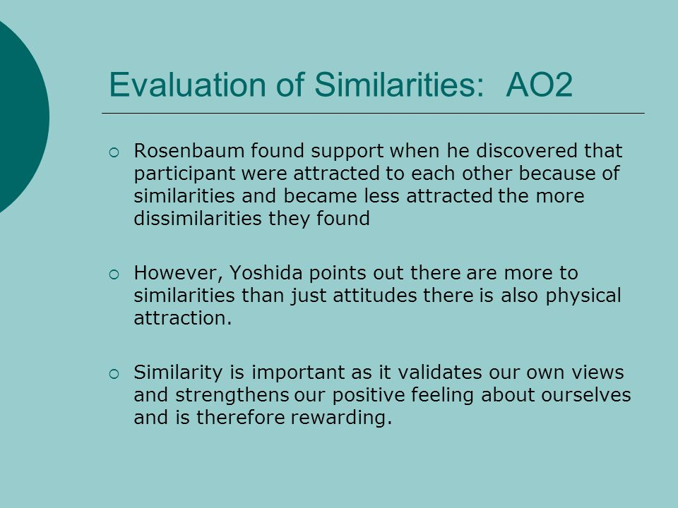 Evaluation of Similarities: AO2