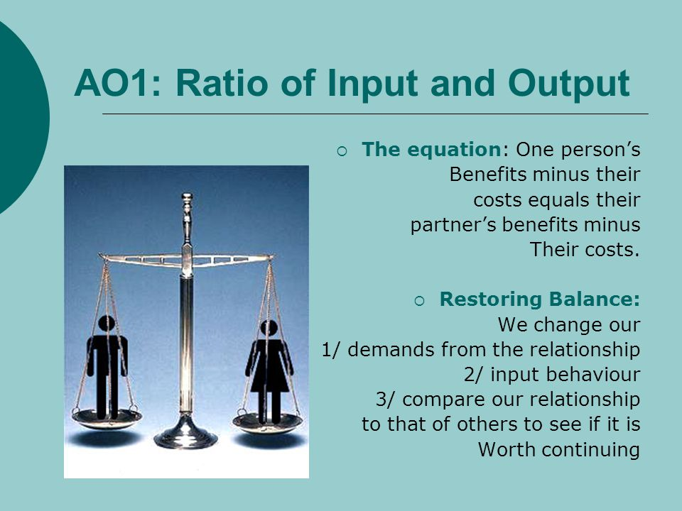 AO1: Ratio of Input and Output