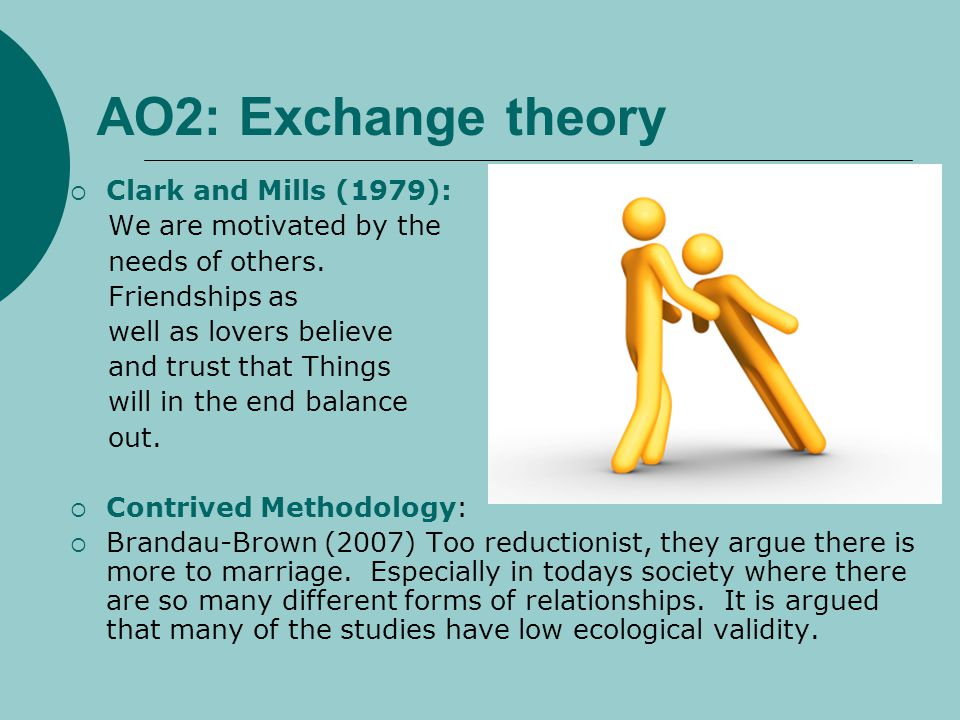 AO2: Exchange theory Clark and Mills (1979): We are motivated by the