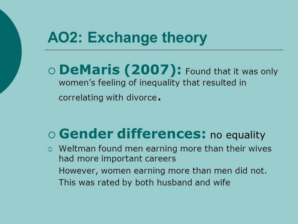 AO2: Exchange theory DeMaris (2007): Found that it was only women's feeling of inequality that resulted in correlating with divorce.