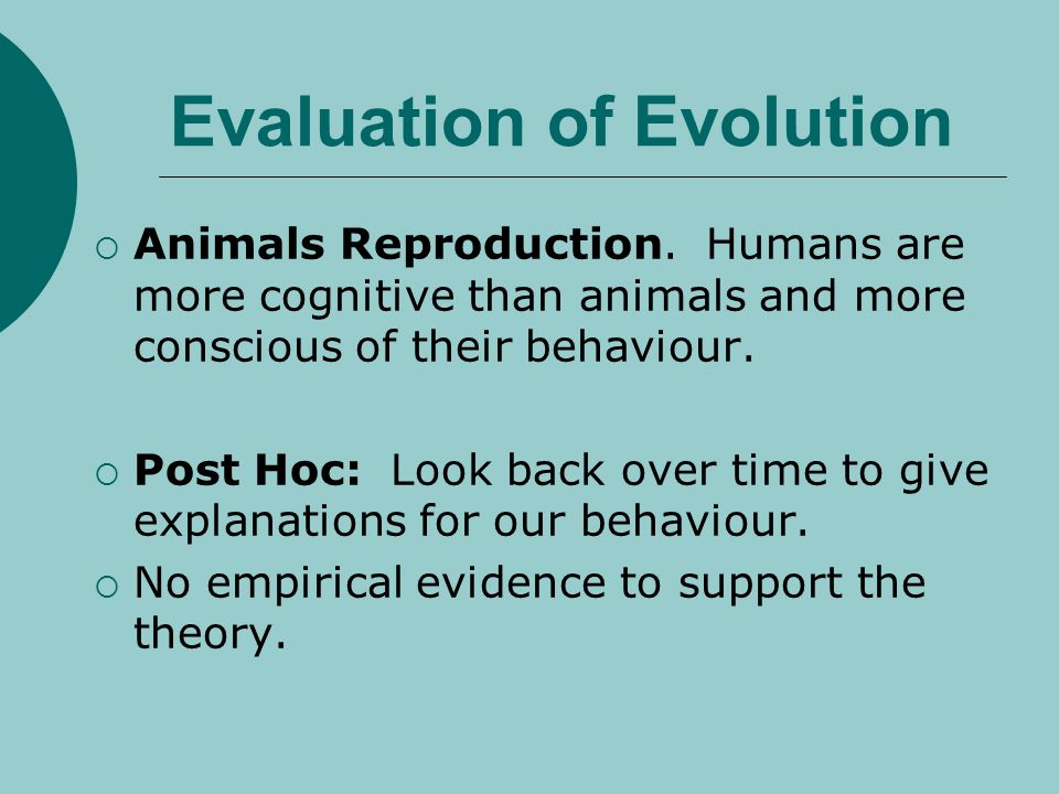 Evaluation of Evolution