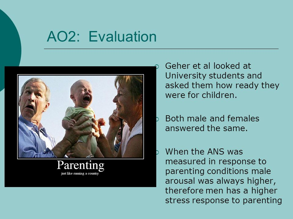 AO2: Evaluation Geher et al looked at University students and asked them how ready they were for children.