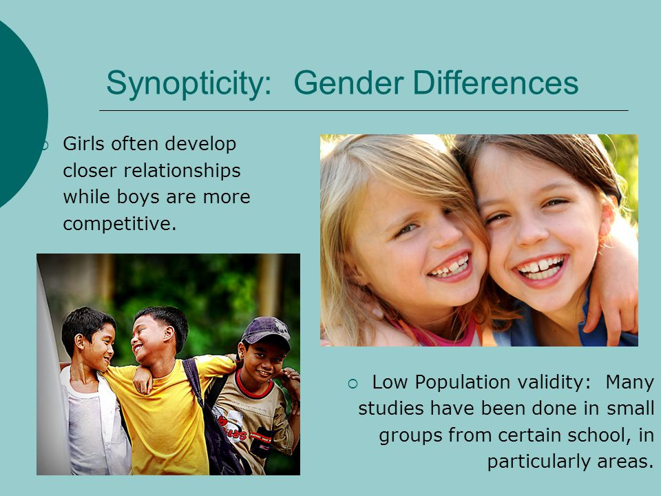 Synopticity: Gender Differences