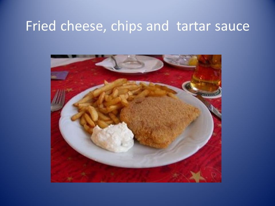 Fried cheese, chips and tartar sauce