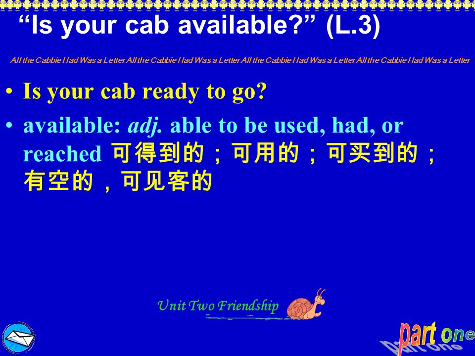Is your cab available (L.3)