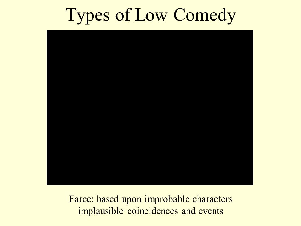Types of Low Comedy Farce: based upon improbable characters implausible coincidences and events