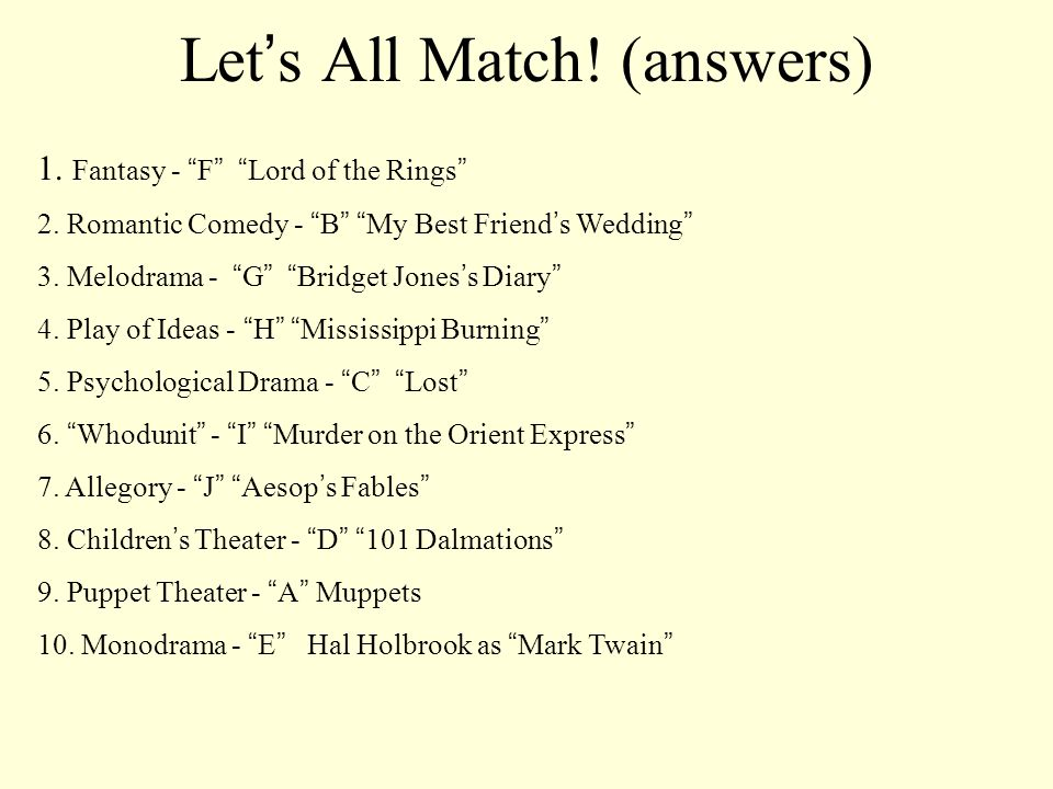 Let's All Match! (answers)