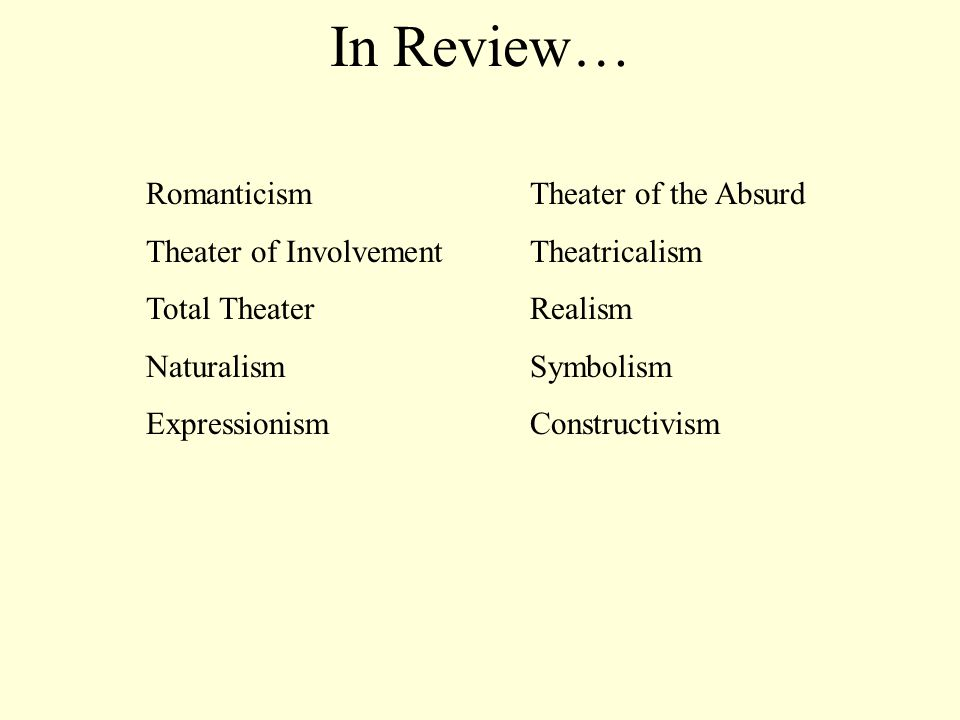 In Review… Romanticism Theater of the Absurd