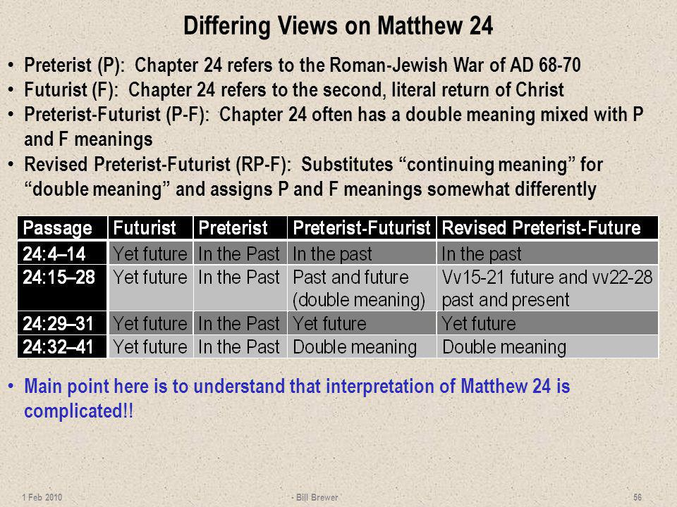Differing Views on Matthew 24