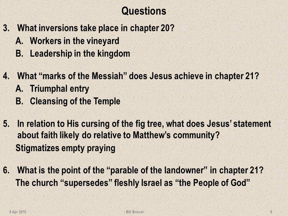 Questions 3. What inversions take place in chapter 20