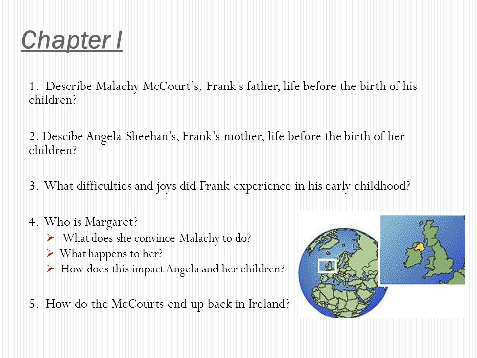 Chapter I 1. Describe Malachy McCourt's, Frank's father, life before the birth of his children