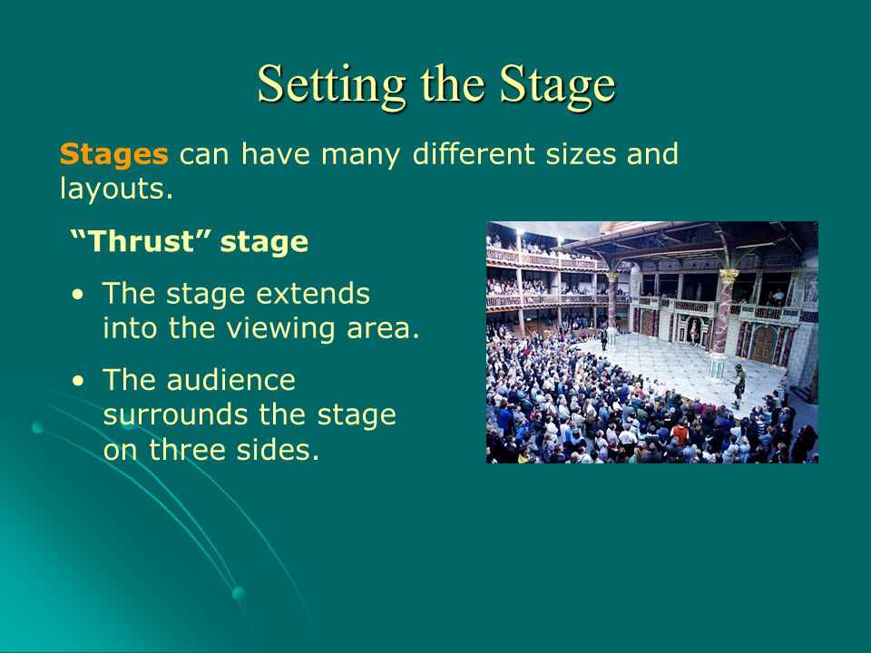 Setting the Stage Stages can have many different sizes and layouts.