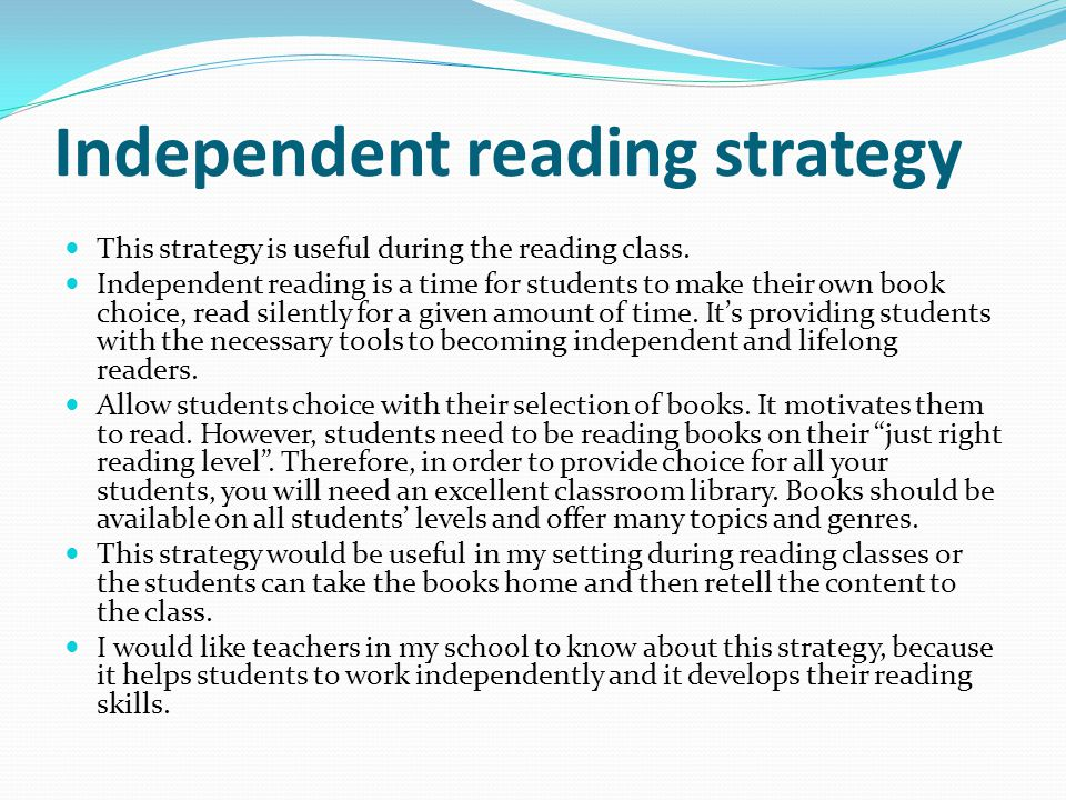 Independent reading strategy
