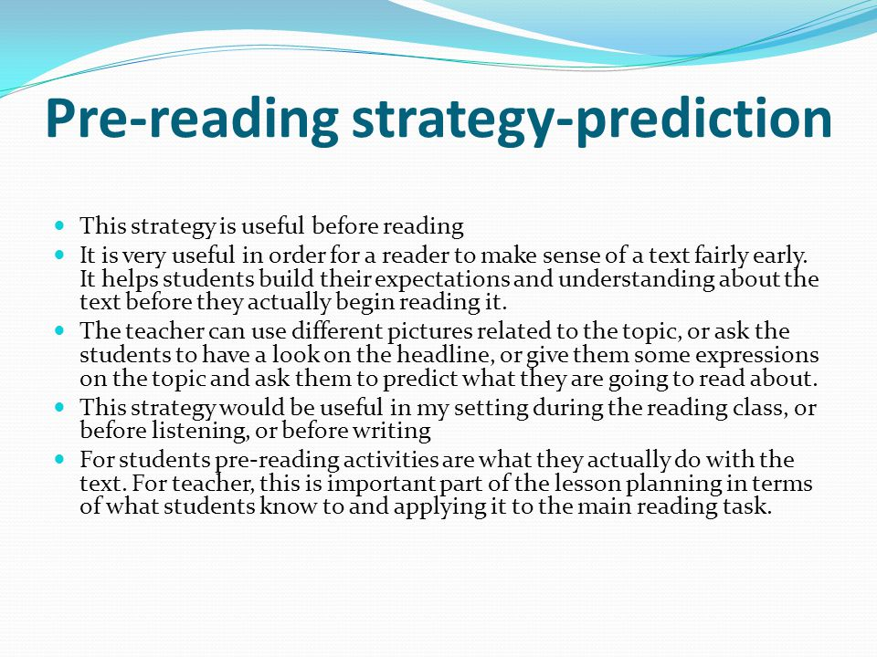 Pre-reading strategy-prediction