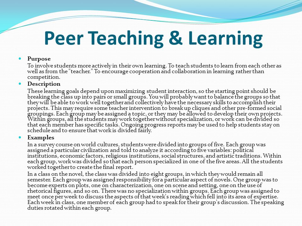 Peer Teaching & Learning