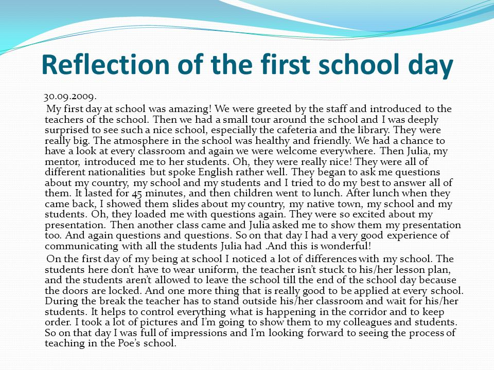 Reflection of the first school day