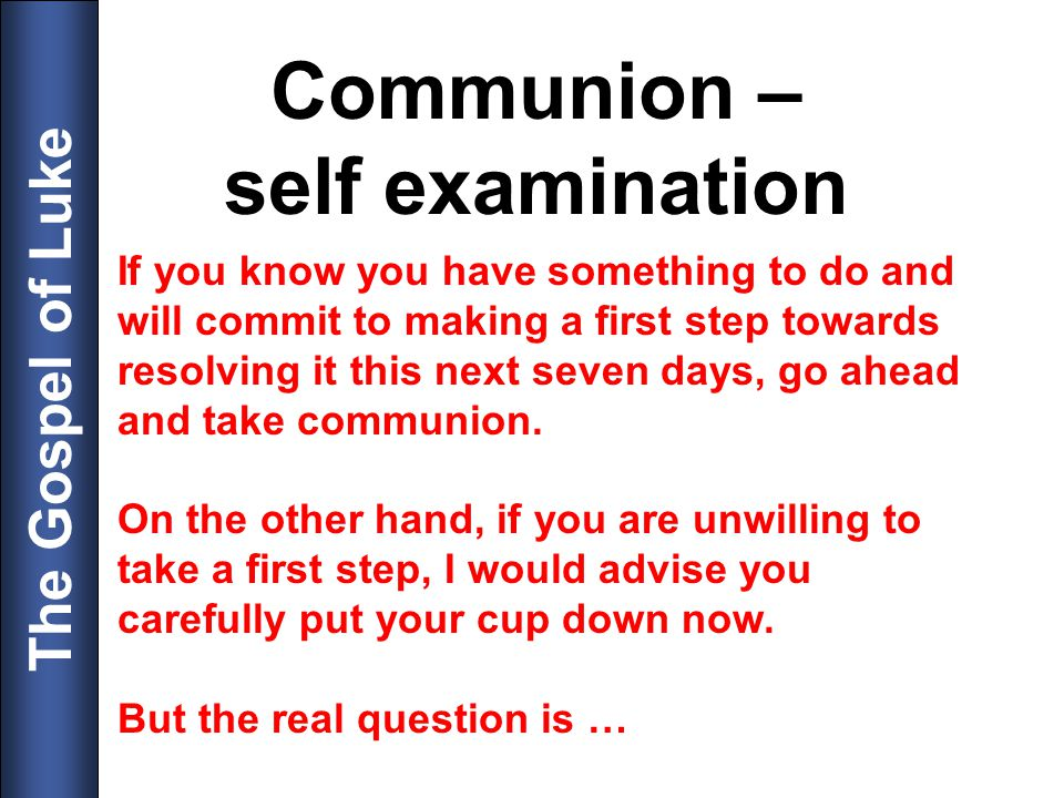 Communion – self examination