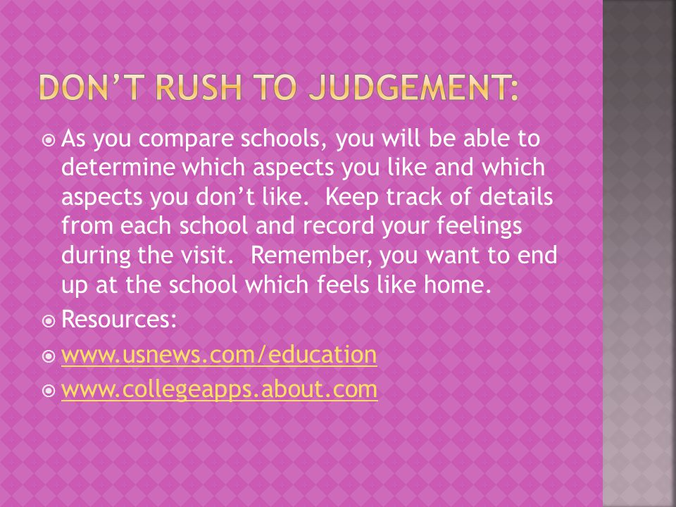 DON'T RUSH TO JUDGEMENT: