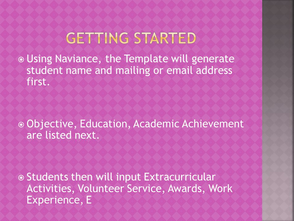 Getting Started Using Naviance, the Template will generate student name and mailing or email address first.