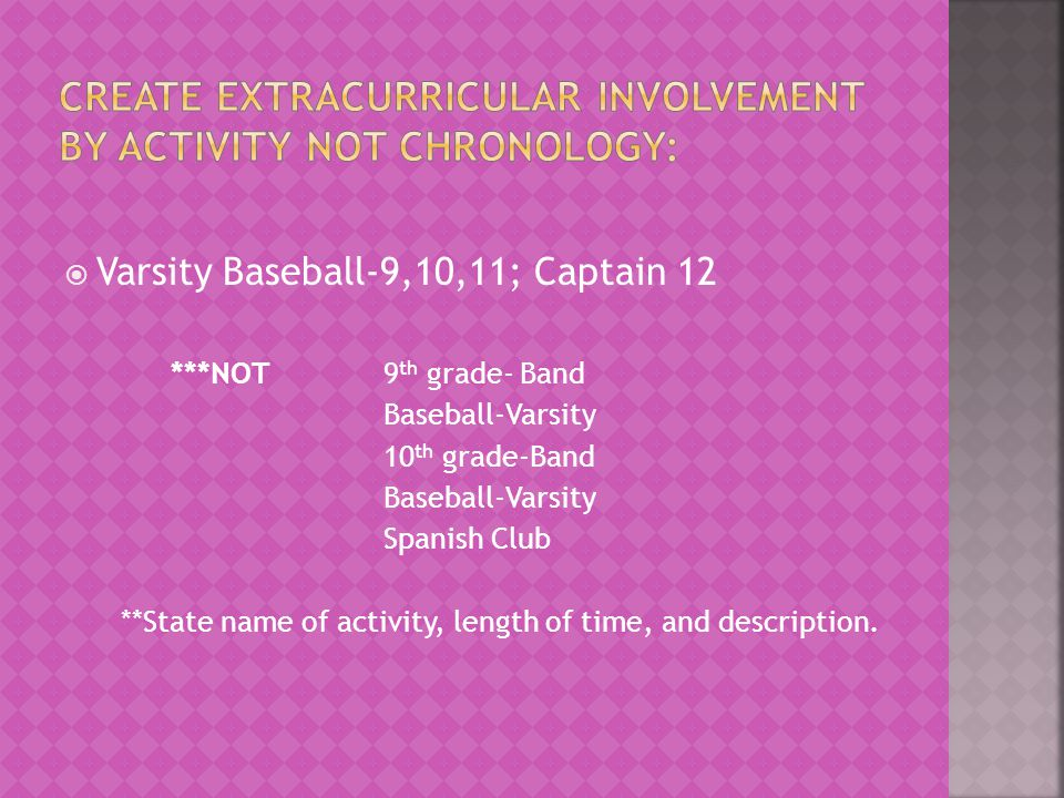 Create Extracurricular Involvement by activity not chronology: