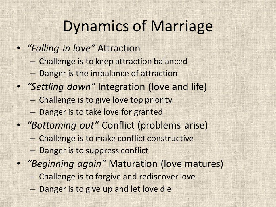Dynamics of Marriage Falling in love Attraction
