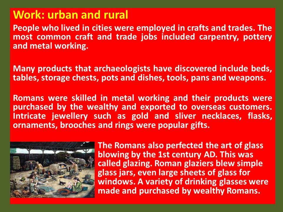 Work: urban and rural