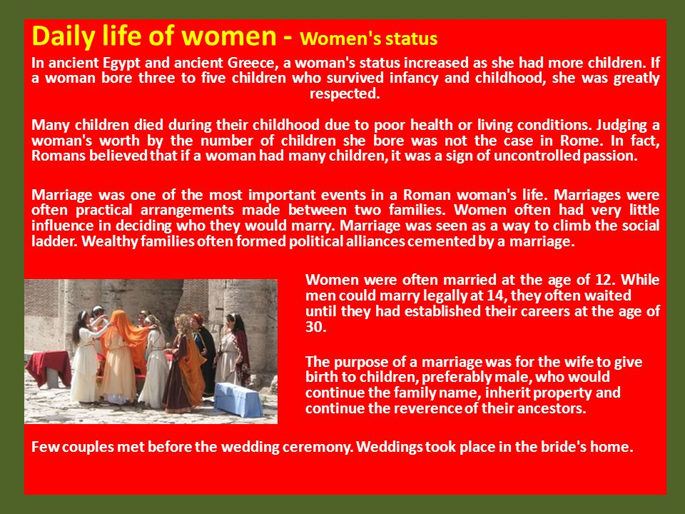 an account of a womans daily life in ancient rome Woman in ancient rome one page with links on left side to other topics of daily life visual = 5 content = 5 r2090 roman people six essays on roman woman, family and others in ancient rome.