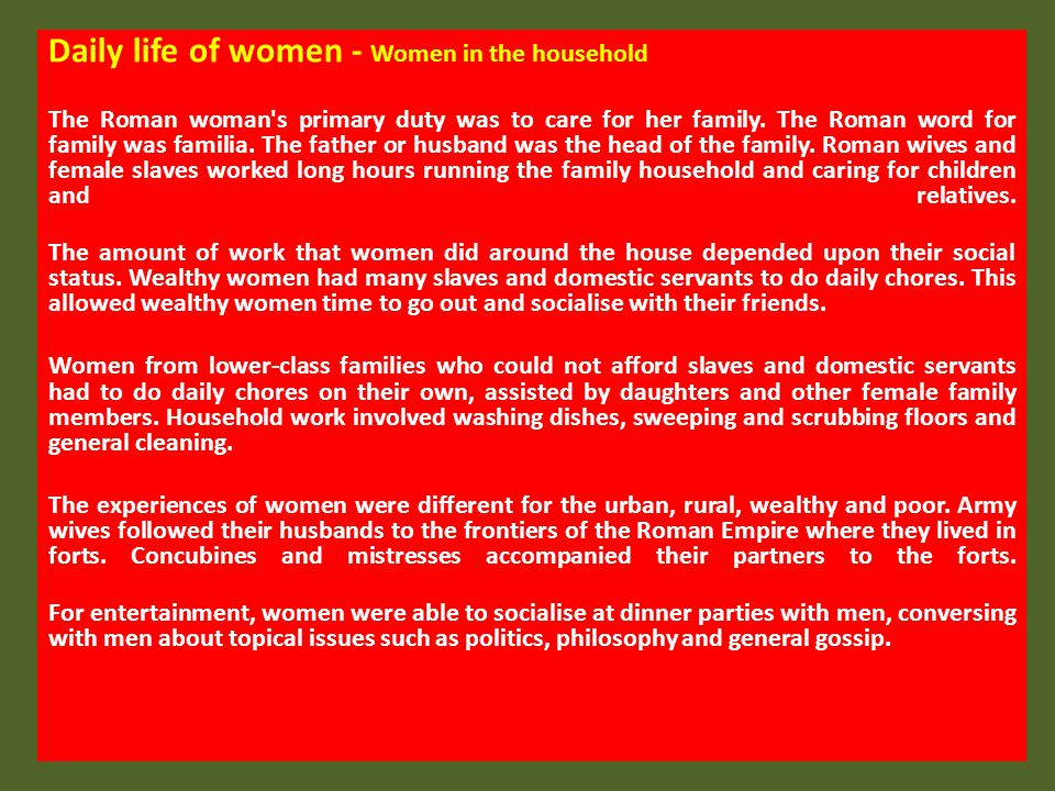 Daily life of women - Women in the household